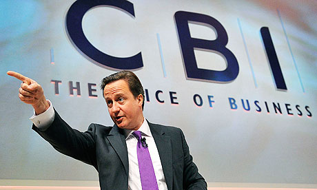 Britain's Prime Minister David Cameron speaks during his address to the CBI conference in London