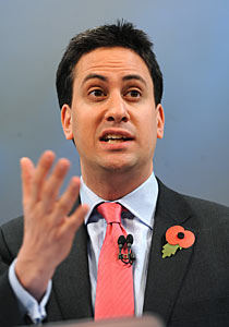 Ed Miliband addresses the CBI conference.