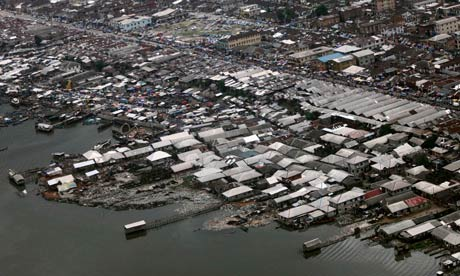 An aerial view of a section of Nigeria's oil hub city of Port-Harcourt
