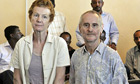 Released British hostages Rachel and Paul Chandler in Mogadishu.