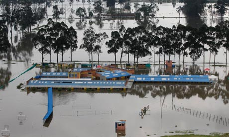 A school lies under water in Fontibon on the outskirts of Bogota, Colombia, last Friday.