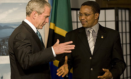 President Jakaya Kikwete, pictured with George Bush in 2008