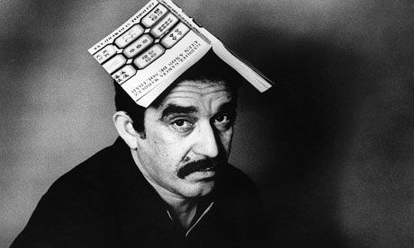 Gabriel Garcia Marquez with Book on Head