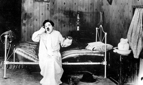 Charlie Chaplin waking up in Sunnyside