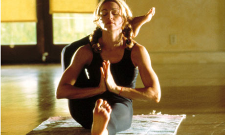 Madonna in yoga routine