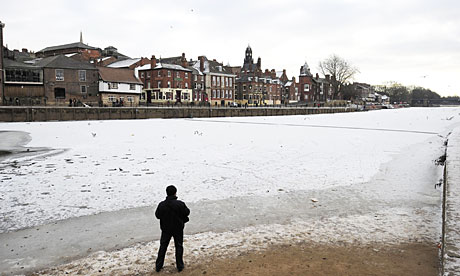 The River Ouse completely frozen over in the city of York.
