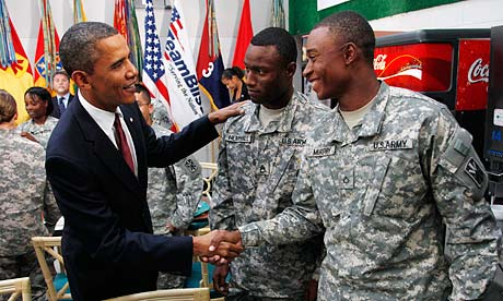 US President Barack Obama thanks army