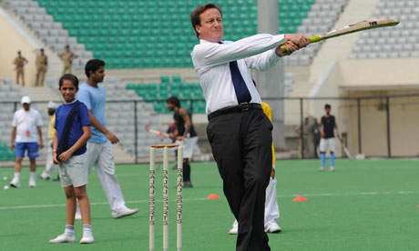 David Cameron playing cricket in India, July 2010
