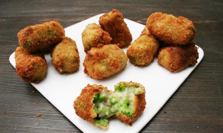 Pea and ham croquettes