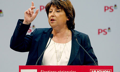 Head of the French Socialist party, Martine Aubry, speaks at a rally in Paris.