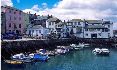 Boats in the harbour and quayside Falmouth Cornwall England