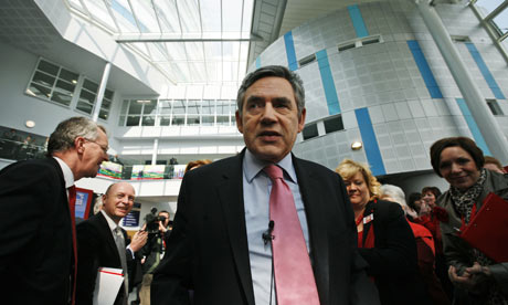 Gordon Brown at the launch of Labour's manifesto