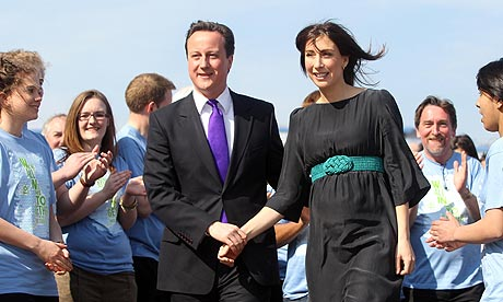 David and Samantha Cameron at the launch of the Conservative party's manifesto.