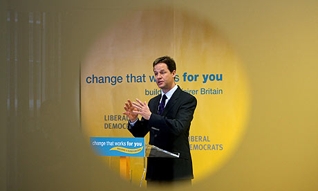 Liberal Democrat leader Nick Clegg during a press conference in London.