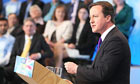 David Cameron speaks during the launch of the Conservative party election manifesto.