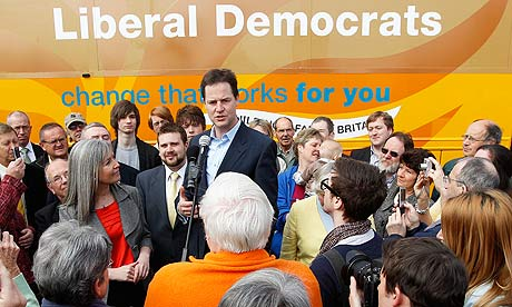 Nick Clegg speaks to Liberal Democrat supporters during election campaigning in Warrington.
