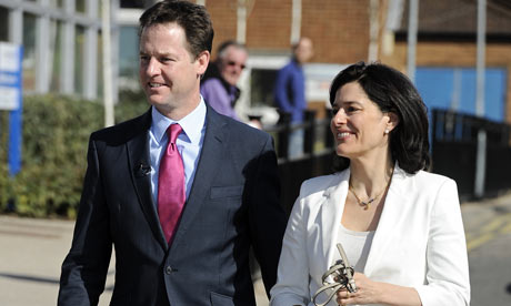 Nick Clegg, and his wife Miriam González Durántez visit Kingston hospital, south-west London.