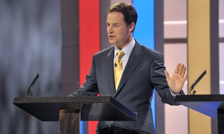 Nick Clegg at the first leadership debate