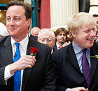 David Cameron and Boris Johnson meet members of the public on St George's day in Leadenhall Market