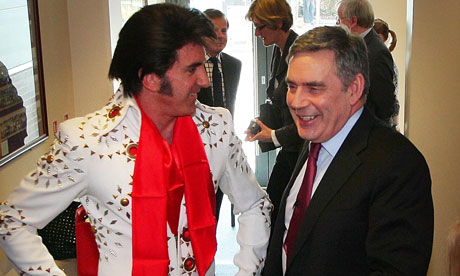 Gordon Brown with Elvis impersonator Mark Wright