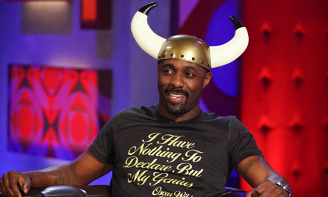 Idris Elba wears Viking helmet