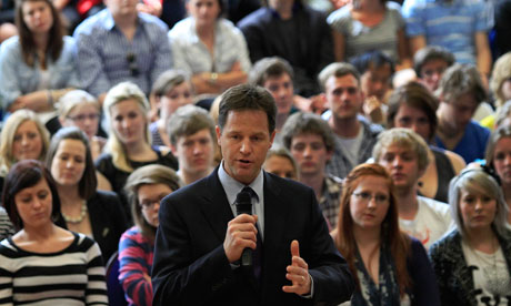 Liberal Democrat leader Nick Clegg speaking to students at Oxford Brookes University yesterday