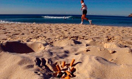 Cigarette butts on Bondi Beach in Sydney