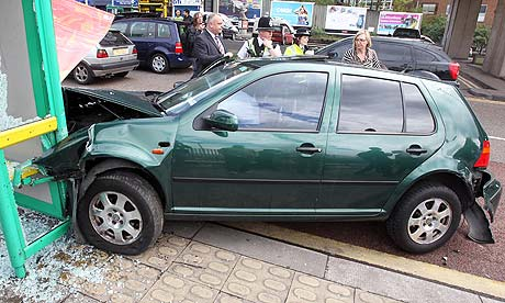 The car that crashed into a bus shelter in Hockley, during a Labour party poster launch.