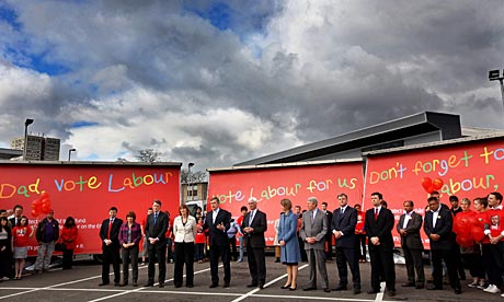 Gordon Brown and senior cabinet members attend a poster launch in Hockley, West Midlands.
