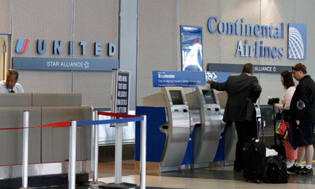 Continental and United check-in desks