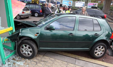 2010 General Election bus shelter crash car