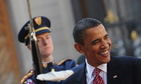Barack Obama arrives in Prague for signing of arms control treaty