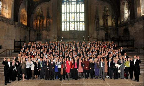The majority of the 232 new MPs in Westminster Hall