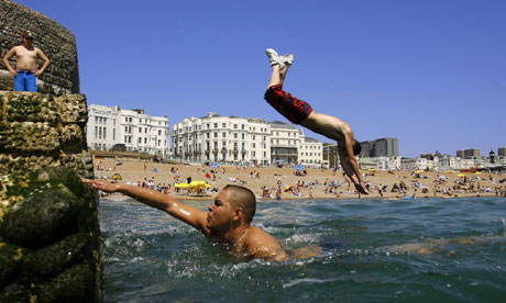 Cooling off at Brighton beach