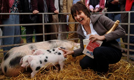 Marina Lewycka and her prize pig