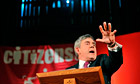 BGordon Brown making his well-received election speech on fairness for Citizens UK