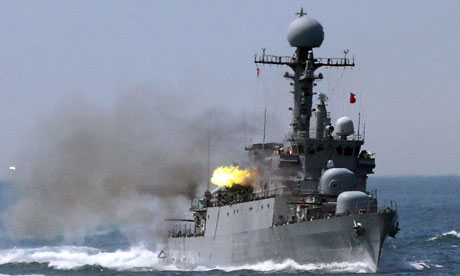 South korean warships undergo drill