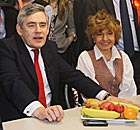 Prunella Scales with Gordon Brown, during a visit to a Tesco store in Hammersmith, London.