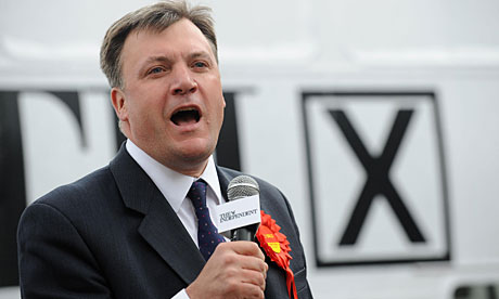 Ed Balls addresses a crowd in Morley town centre.