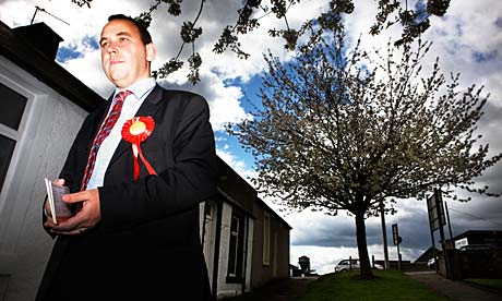 Labour candidate Thomas Docherty campaigns in the Dunfermline and West Fife constituency.