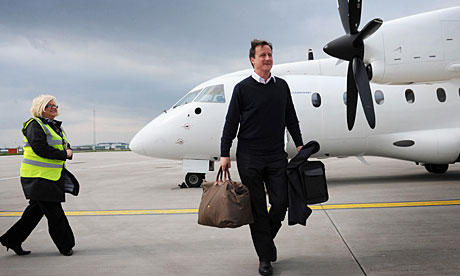 David Cameron arrives at Glasgow airport for the start of his 24-hour tour of the UK.