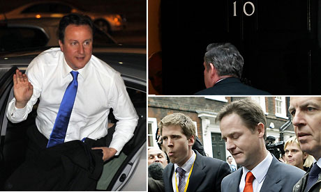 David Cameron, Gordon Brown and Nick Clegg