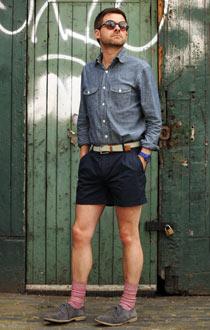 Simon Chilvers wearing shorts