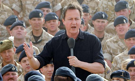 David Cameron speaks to British troops during his first visit to Afghanistan since taking office