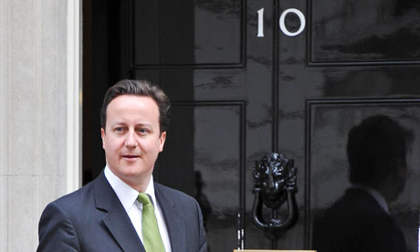 David Cameron in green tie, 2010