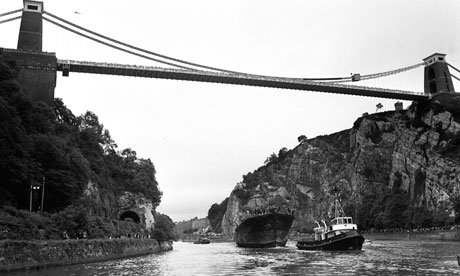 The SS Great Britain towed under the Bristol suspension bridge in 1970 - Popperfoto/Popperfoto/Getty Images