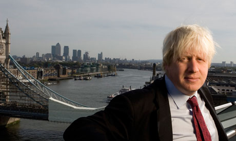 London mayor Boris Johnson photographed on the balcony of City Hall.