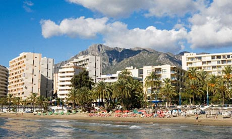 View of the beachfront at Marbella