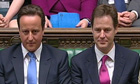 Nick Clegg, above right with prime minister David Cameron