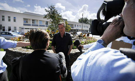 David Cameron outside the Royal Cornwall hospital, in Truro